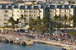 Por do sol, quadrado de Mallory, Key West Florida Imagem de Stock