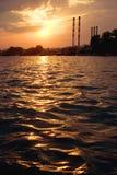 Por do sol quente Imagens de Stock