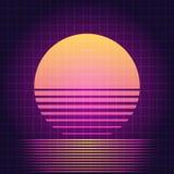 Por do sol retro da ficção científica ilustração stock