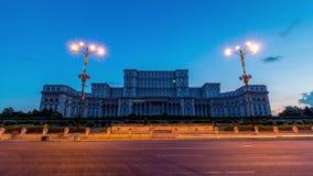 Por do sol romeno do palácio do parlamento video estoque