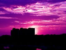 Por do sol roxo Fotos de Stock