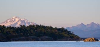 Por do sol, San Juan Islands, EUA Fotografia de Stock