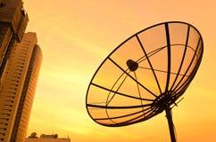Por do sol satélite. fotografia de stock