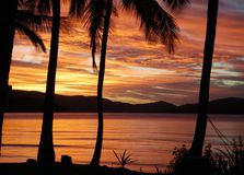 Por do sol sobre a água, com a silhueta das palmeiras Foto de Stock