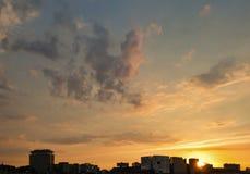 Por do sol sobre Amsterdão Foto de Stock Royalty Free