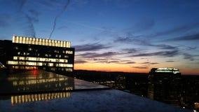 Por do sol sobre Austin do centro Imagem de Stock