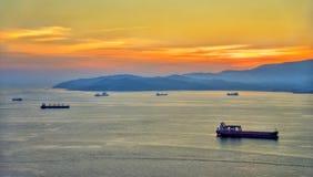 Por do sol sobre a baía de Gibraltar Fotografia de Stock