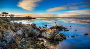 Por do sol sobre a baía de Monterey Imagens de Stock