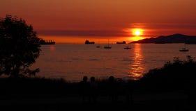 Por do sol sobre a baía inglesa, Vancôver Fotografia de Stock