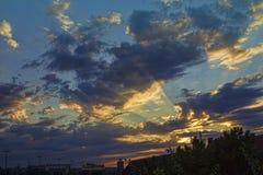 Por do sol sobre Belgrado Imagens de Stock