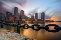 Por do sol sobre Boston foto de stock royalty free