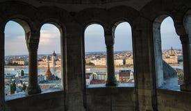 Por do sol sobre Budapest Imagens de Stock