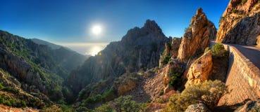Por do sol sobre Calanques de Piana Fotografia de Stock