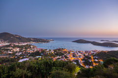 Por do sol sobre Charlotte Amalie St Thomas Fotos de Stock Royalty Free