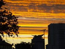 Por do sol sobre a cidade Imagem de Stock Royalty Free