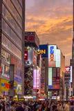 Por do sol sobre a cidade elétrica de Akihabara do Tóquio Imagens de Stock Royalty Free