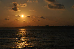 Por do sol sobre Constantinople antigo Imagem de Stock