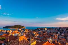 Por do sol sobre Dubrovnik, Croácia Imagem de Stock