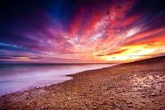 Por do sol sobre Dungeness Fotografia de Stock Royalty Free