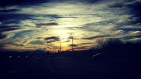 Por do sol sobre a elevação de Tucson o Arizona imagens de stock royalty free