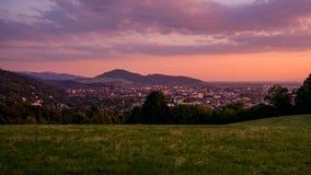 Por do sol sobre Freiburg fotos de stock royalty free