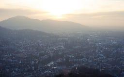 Por do sol sobre Freiburg, Alemanha Foto de Stock Royalty Free