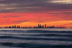 Por do sol sobre Gold Coast Imagem de Stock