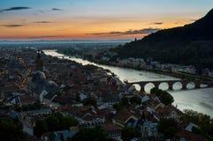 Por do sol sobre Heidelberg Foto de Stock Royalty Free