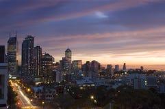 Por do sol sobre Melbourne, Austrália Fotografia de Stock