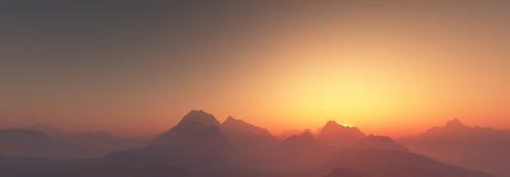 Por do sol sobre montanhas ilustração do vetor
