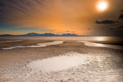 Por do sol sobre montanhas de galês Imagem de Stock
