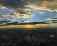 Por do sol sobre Moscovo Foto de Stock Royalty Free