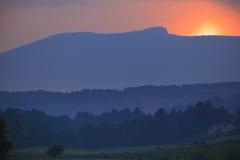 Por do sol sobre Mt. Mansfield em Stowe Vermont Foto de Stock Royalty Free