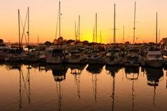 Por do sol sobre o cais em San Diego Imagem de Stock Royalty Free