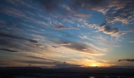 Por do sol sobre o campo de Gold Coast Fotografia de Stock