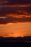 Por do sol sobre o campo escocês Fotos de Stock