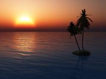 Por do sol sobre o console tropical imagem de stock royalty free