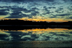 Por do sol sobre o delta solway Imagens de Stock Royalty Free