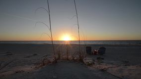 Por do sol sobre o Golfo do México video estoque