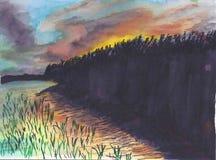 Por do sol sobre o lago ilustração royalty free
