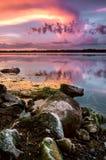 Por do sol sobre o lago Baldwin Fotos de Stock Royalty Free