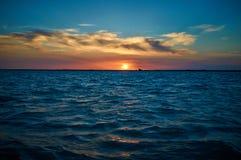 Por do sol sobre o lago Balkhash Fotos de Stock Royalty Free