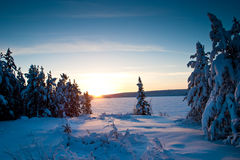 Por do sol sobre o lago congelado no inverno fotografia de stock