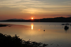 Por do sol sobre o Loch Creran Escócia Foto de Stock Royalty Free