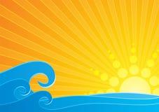Por do sol sobre o mar ilustração stock