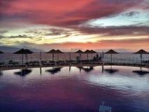 Por do sol sobre o mar e a associação Tenerife Fotos de Stock Royalty Free