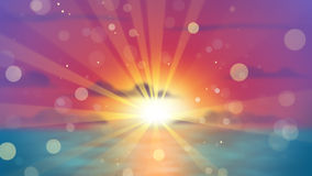 Por do sol sobre o mar fora de foco Fotos de Stock Royalty Free