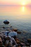 Por do sol sobre o Mar Morto, Jordânia Imagem de Stock