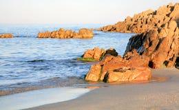 Por do sol sobre o mar Tyrrhenian Italy Fotografia de Stock Royalty Free