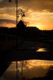Por do sol sobre o moinho foto de stock royalty free
